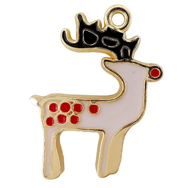 Reindeer Gold Plated & White Enamel  20x22mm